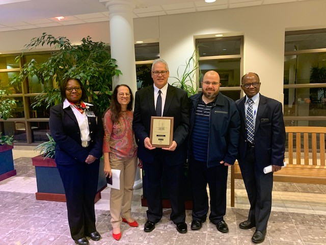 (Left-to-right): Modupe Awonuga, MD; Padmani Karna, MD; Said Omar, MD; Tarek Mohamed, MD; Nicholas Olomu, MD; celebrating Dr. Omar receiving the William B. Weil, Jr. MD, FAAP Endowed Distinguished Faculty in Pediatrics Award for 2019