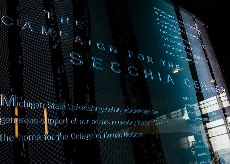 Secchia Center dedication plaque